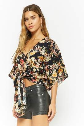 Forever 21 Plunging Floral Tie-Front Top