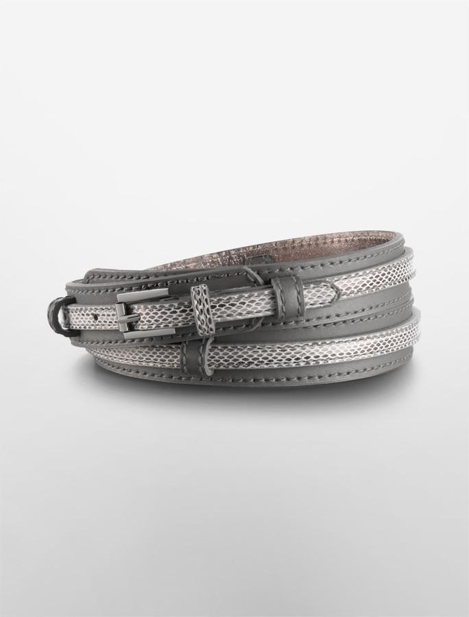 2-Piece Convertible Leather + Faux Snakeskin Belt