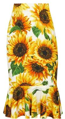 Dolce & Gabbana High Rise Sunflower Print Silk Blend Skirt - Womens - Yellow Multi