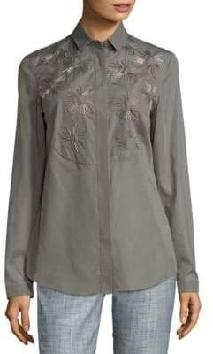 Akris Sunburst Cotton Button-Down Shirt