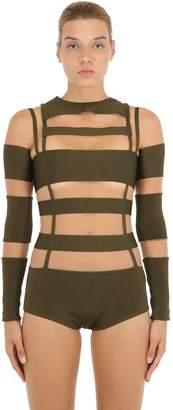 Balmain Cutout Tulle & Milano Jersey Bodysuit