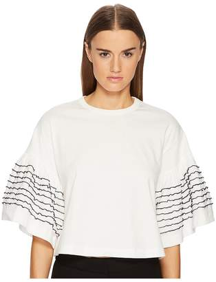 See by Chloe T-Shirt with Embellished Sleeves Women's T Shirt