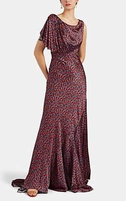 Zac Posen Women's Liberty-Print Silk Gathered-Shoulder Gown - Red Pat.