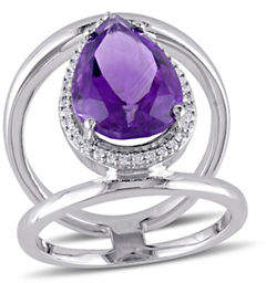 HBC CONCERTO 0.2 TCW Diamond, Amethyst and 14K White Gold Halo Ring