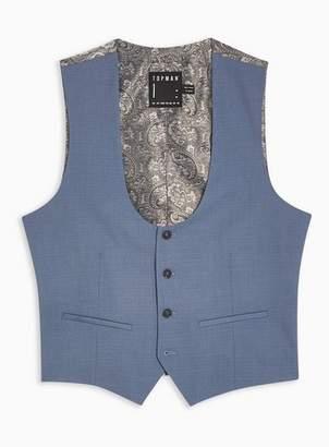 Topman Mens Blue Slim Fit Suit Waistcoat