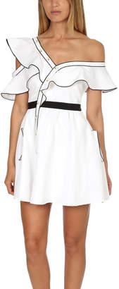 Self-Portrait Silk Cotton Frill Dress