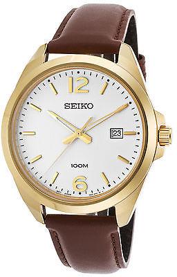 SeikoSeiko SUR216P1 Men's Classic Brown Calf-Skin White Dial Gold-Tone Stainless