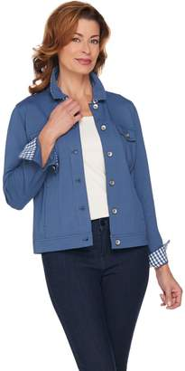 Kelly By Clinton Kelly Kelly by Clinton Kelly Ponte Knit Jacket with Gingham Accents