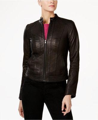 Cole Haan Seamed Leather Jacket $400 thestylecure.com