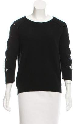 Tess Giberson Cutout-Accented Scoop Neck Sweater