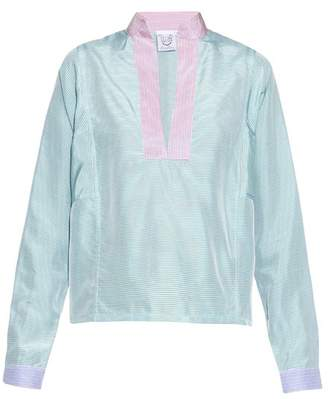 Thierry Colson Paloma Striped Silk Top - Womens - Pink Multi