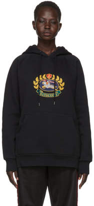 Burberry Black Embroidered Logo Crest Hoodie