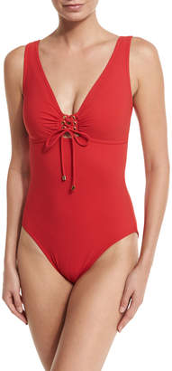 Karla Colletto Lace-Up Front V-Neck One-Piece Swimsuit
