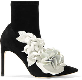 Sophia Webster Jumbo Lilico Floral-appliquéd Leather And Suede Ankle Boots - Black