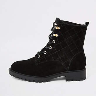 River Island Black suede quilted chunky lace-up boots
