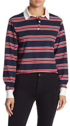 GOOD LUCK GEM Contrast Collar Striped Polo