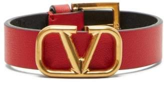 Valentino V Logo Leather Bracelet - Womens - Red
