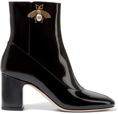 Gucci - Embellished Patent-leather Ankle Boots - Black
