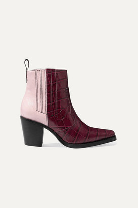 Ganni Callie Paneled Croc-effect And Patent-leather Ankle Boots - Burgundy