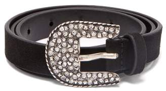 Isabel Marant Toola Crystal Embellished Suede Belt - Womens - Black
