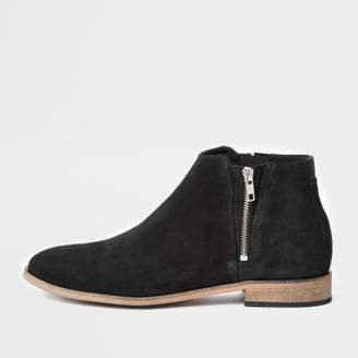 River Island Mens Black suede zip chelsea boots