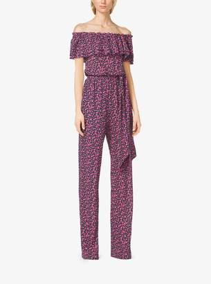 Michael Kors Gladiolus-Print Ruffled Silk-Georgette Jumpsuit