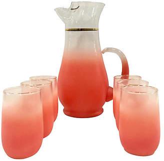 One Kings Lane Vintage Frosted Glass Drink Set - 7 Pcs - Jacki Mallick Designs