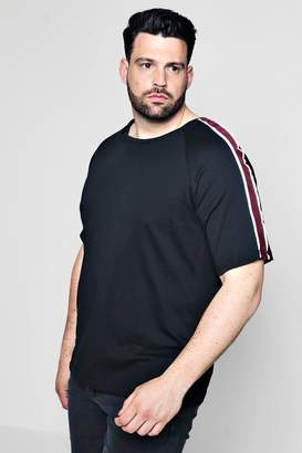 boohoo Big And Tall Crew T-Shirt With Velour Taping