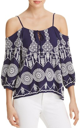 AQUA Embroidered Cold Shoulder Top - 100% Exclusive $78 thestylecure.com