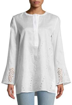 Lafayette 148 New York Haisley Gemma Cloth Blouse with Eyelet Trim