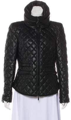 Moncler Femelle Quilted Leather Down Jacket