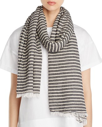 Eileen Fisher Crinkle Cotton Stripe Scarf $78 thestylecure.com