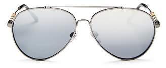 Burberry Men's Low Base Polarized Brow Bar Aviator Sunglasses, 57mm