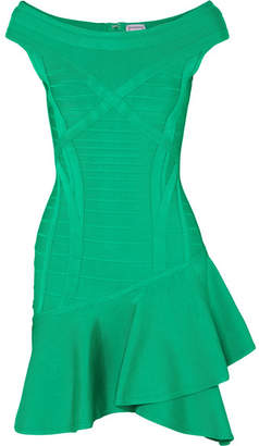Herve Leger Ruffled Bandage Mini Dress - Green