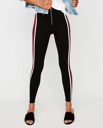 Express High Waisted Double Stripe Zip Front Leggings