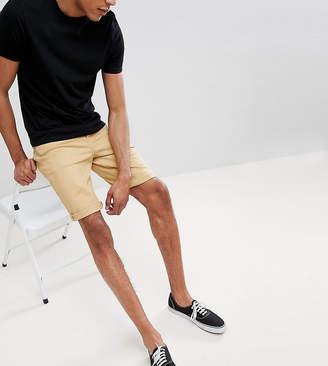 Asos DESIGN denim shorts in slim longer length stone