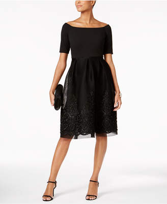 Jessica Howard Embroidered Mesh Fit & Flare Dress $149 thestylecure.com