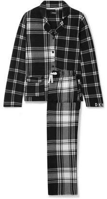 DKNY Too Good To Give Checked Fleece Pajama Set - Black