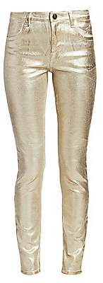 J Brand Women's Maria High-Rise Metallic Coated Skinny Jeans