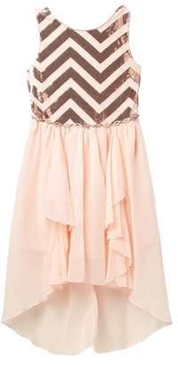 Love, Jayne Chevron Sequin Top Dress (Big Girls)