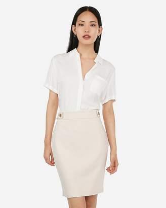 Express High Waisted Tab Button Pencil Skirt