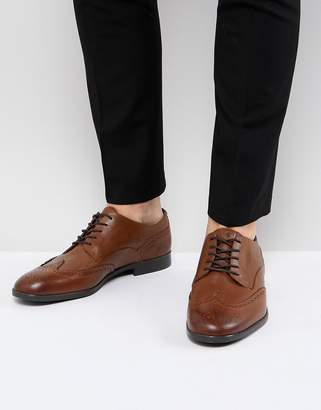 H By Hudson Aylesbury Leather Brogues In Tan