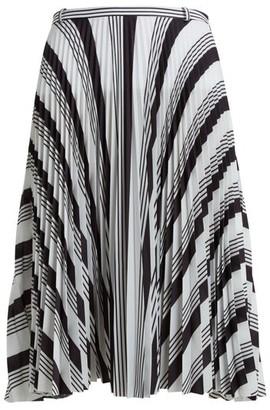 Balenciaga Striped Pleated Crepe Skirt - Womens - Black White