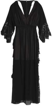 Badgley Mischka Cold-Shoulder Lace-Paneled Bead-Embellished Crepe Gown