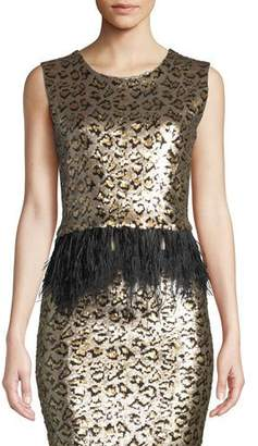 Le Superbe Liza Fitted Cropped Sequin Top with Ostrich Feathers