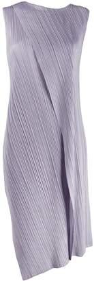 Pleats Please Issey Miyake pleated asymmetric-hem dress