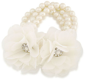 Carolee Carolee Icing On The Cake 8MM Faux Pearl & Faceted Stone Stretch Bracelet