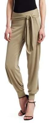 Halston Flowy Tapered Waist Tie Jersey Pants