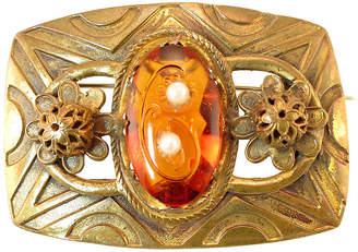 One Kings Lane Vintage Victorian Etched Amber & Pearl Brooch