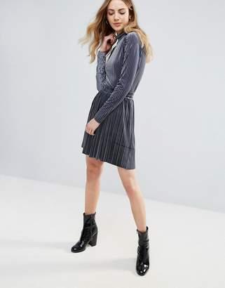 Ichi Velvet Pleated Mini Skirt